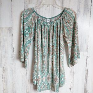 Size Small Wide Sleeve Boho Top Green Paisley